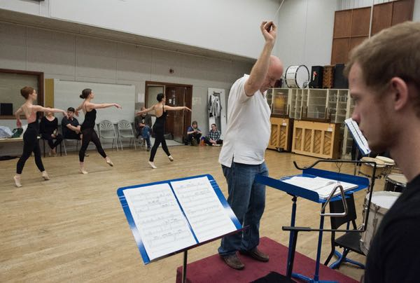Jon D. Lee, director of the Meadows Percussion Ensemble, conducts as Dallas Neo-Classical Ballet rehearses Ionisation on April, 8, 2017. (Rex C. Curry/Special Contributor)