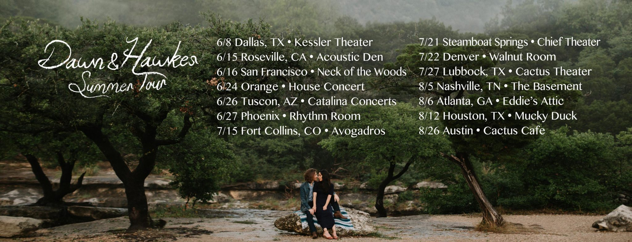 Dawn & Hawkes summer tour poster