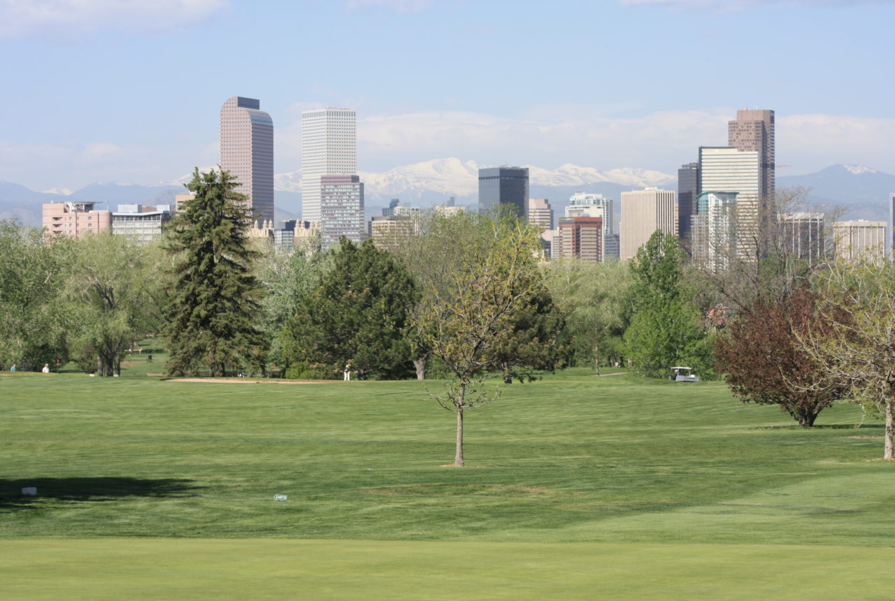 Denver skyline and Rocky Mountains from Overland Park Golf Course