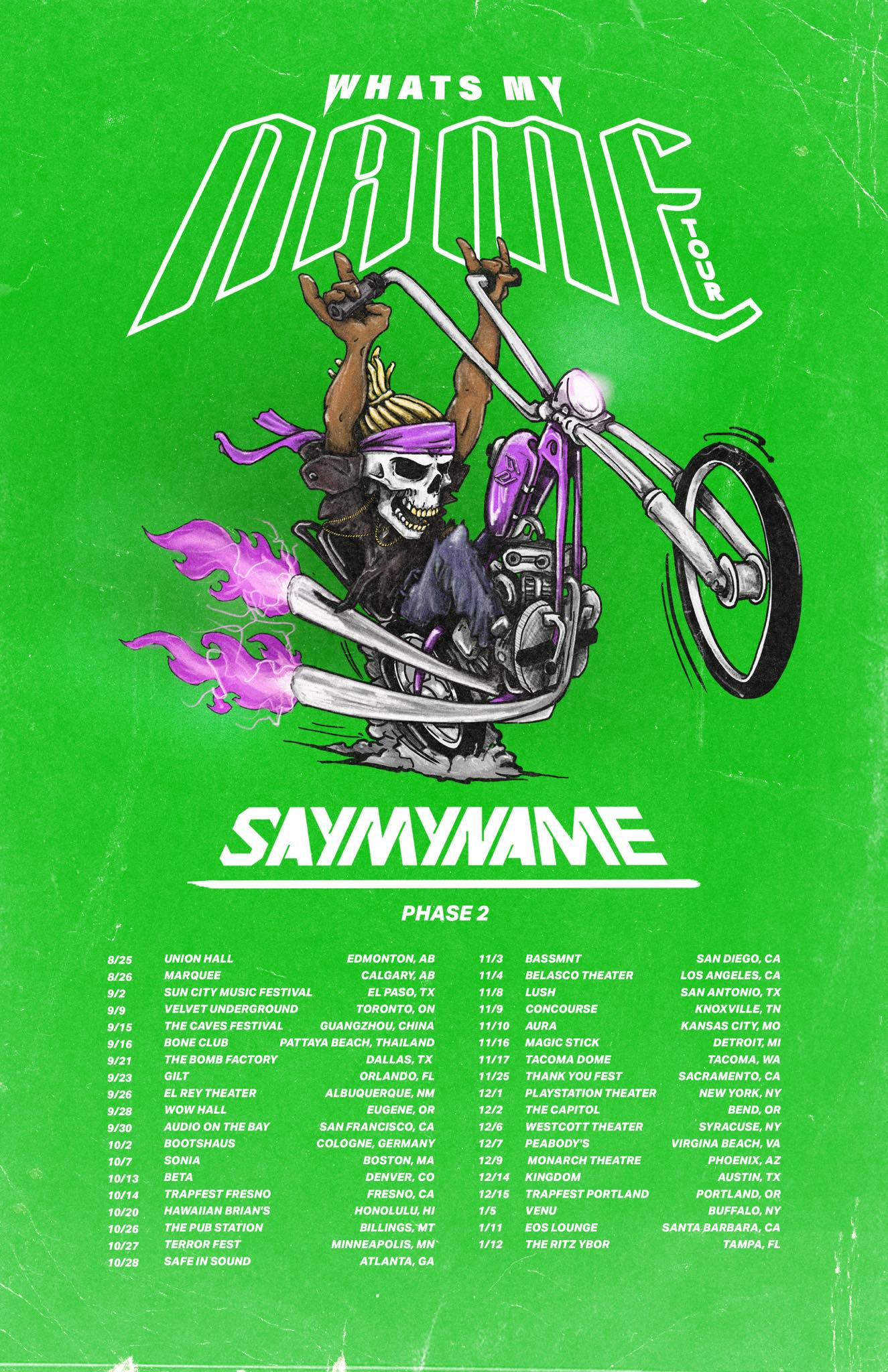 SAYMYNAME What's My Name tour poster