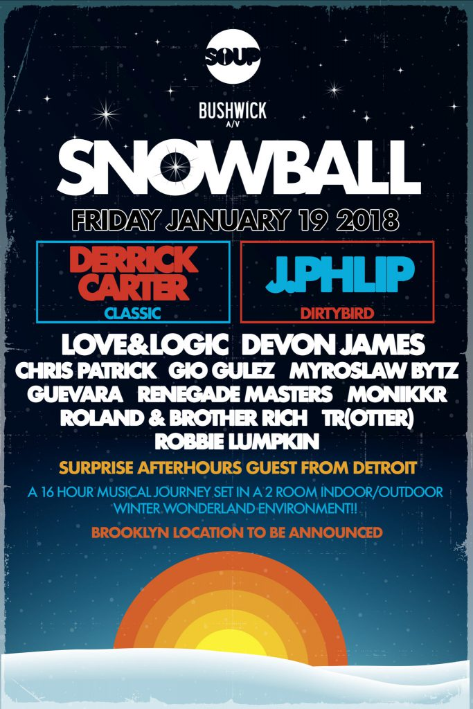 The Snow Ball Bushwick A/V SOUP NYC lineup poster