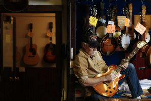 Rockin' Robin Guitars owner Bart Wittrock plays a 1959 Les Paul Conversion guitar in his store Thursday, Feb. 8, 2018 in Houston. After more than 45 years of being in business, Wittrock is putting the store on the market in hopes of finding a new and energetic owner. (Michael Ciaglo / Houston Chronicle)