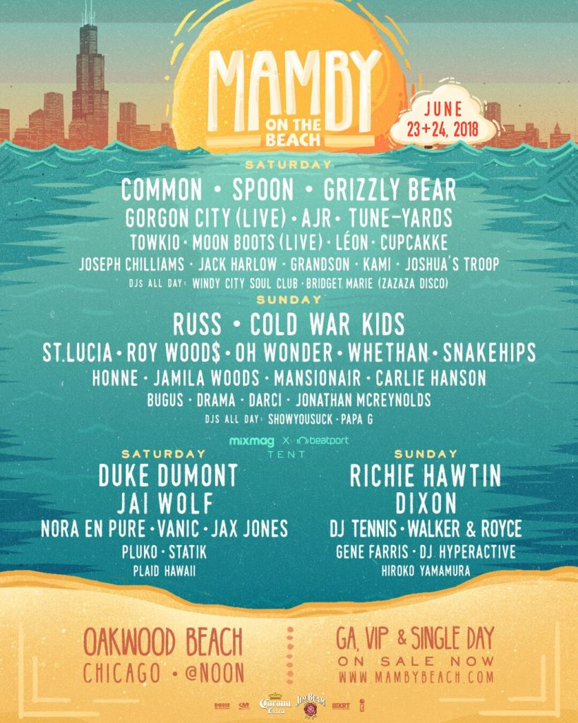 Mamby on the Beach 2018 lineup poster