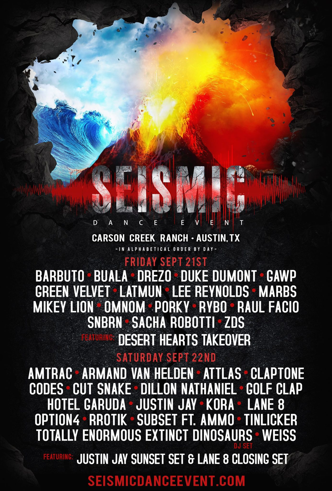 Seismic Dance Event 2018 lineup poster